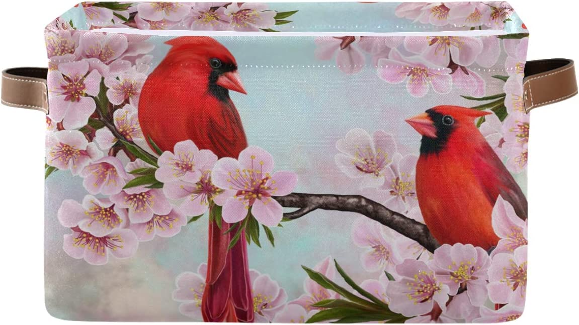 HMZXZ QMXO Spring Red Cardinals Philadelphia Mall Canvas Fabric 1 year warranty Flower Floral Stor