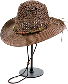 Vadeytfl Straw Hat Outdoor Beach UV Protective Fishing Hat Cowboy Hat Breathable Mesh with Chin Band Sun Cap (Color : Brown)