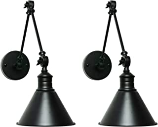 SEDA Frosted Black Modern Industrial Up Down Swing Arm Wall Lights Vintage Wall Mount Light Sconces Wall Lamp (Hardwire-2-Pack)