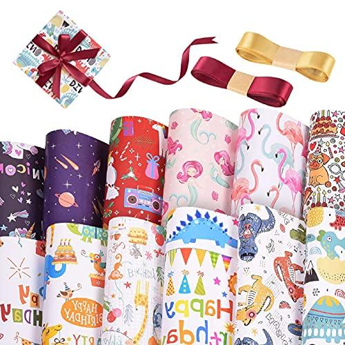 TOMEEK Fogli Di Carta Da Regalo, Un Set Di 12 Fogli Di Carta Da Imballaggio Multi Pattern Per Compleanno, Natale Regali,Baby Shower, Anniversari 70 * 50 cm+ 2 Rotoli Di Nastro Di Seta(L,12S)