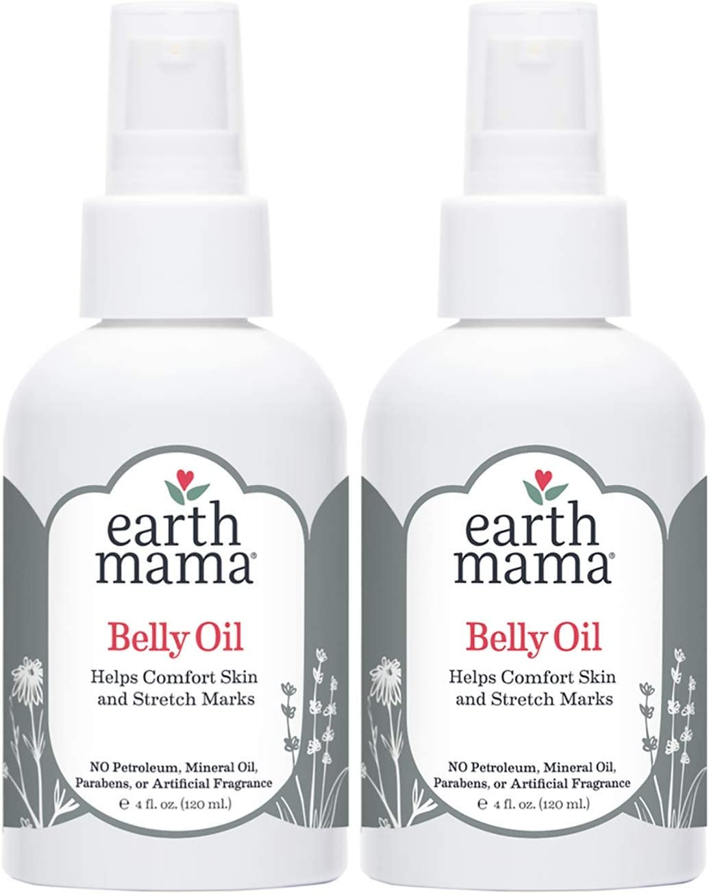 Belly Oil by Earth Mama | To Safely Moisturize and Promote Skin's Natural Elasticity During Pregnancy and to Ease the Appearance of Stretch Marks, 4-Fluid Ounce (2-Pack)