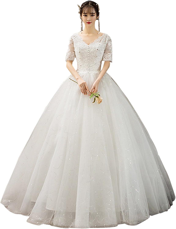 Epinkbridal Women's VNeck Crystal Wedding Dresses for Bride 2018 Half Sleeve Lace Open Back Bridal Ball Gowns