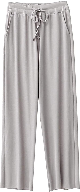 FZFXDC Ice Silk Wide Leg Pants Women Slacks Loose Summer Elastic Waisted Straight Casual Pants