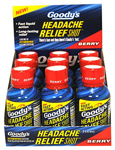 Goody's Headache Relief Shots   Berry Flavor   9 Shots   2 oz per Shot   Fast Liquid Action for Long Lasting Relief