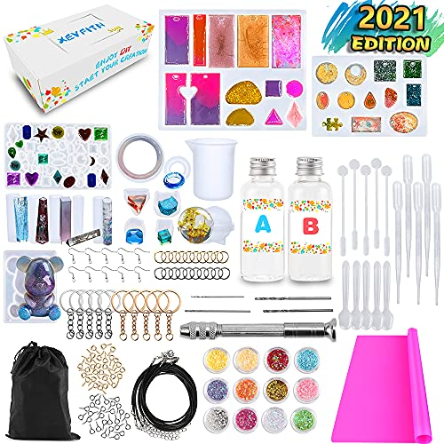 XEVFITN Epoxy Resin Molds Jewelry Making Kit For Beginners, Silicone Casting Molds For Keychain Pendant Crafts Bracelet Making Set Contains Molds, Epoxy Resin, Silicone Mat, Glitter Sequins, Tools Set