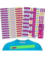 INDIGOS UG® Pegatinas de nombre - Set - 160 piezas - Chica - 80 etiquetas para planchar + 80 sticker - escuela y jardín de infancia