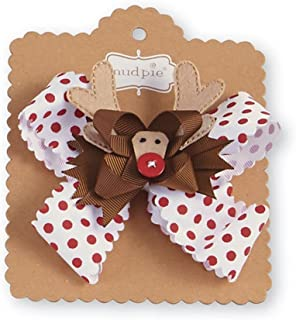 Mud Pie Baby Girl's Night Before Christmas 3-in-1 Holiday Hair Bows, Reindeer, Pink