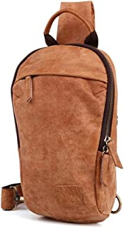 Fashion Mens Shoulder Bags Genuine Leather USB Charging Crossbody Chest Pack Short Trip Messengers Bag (Color : Brown, Size : S)