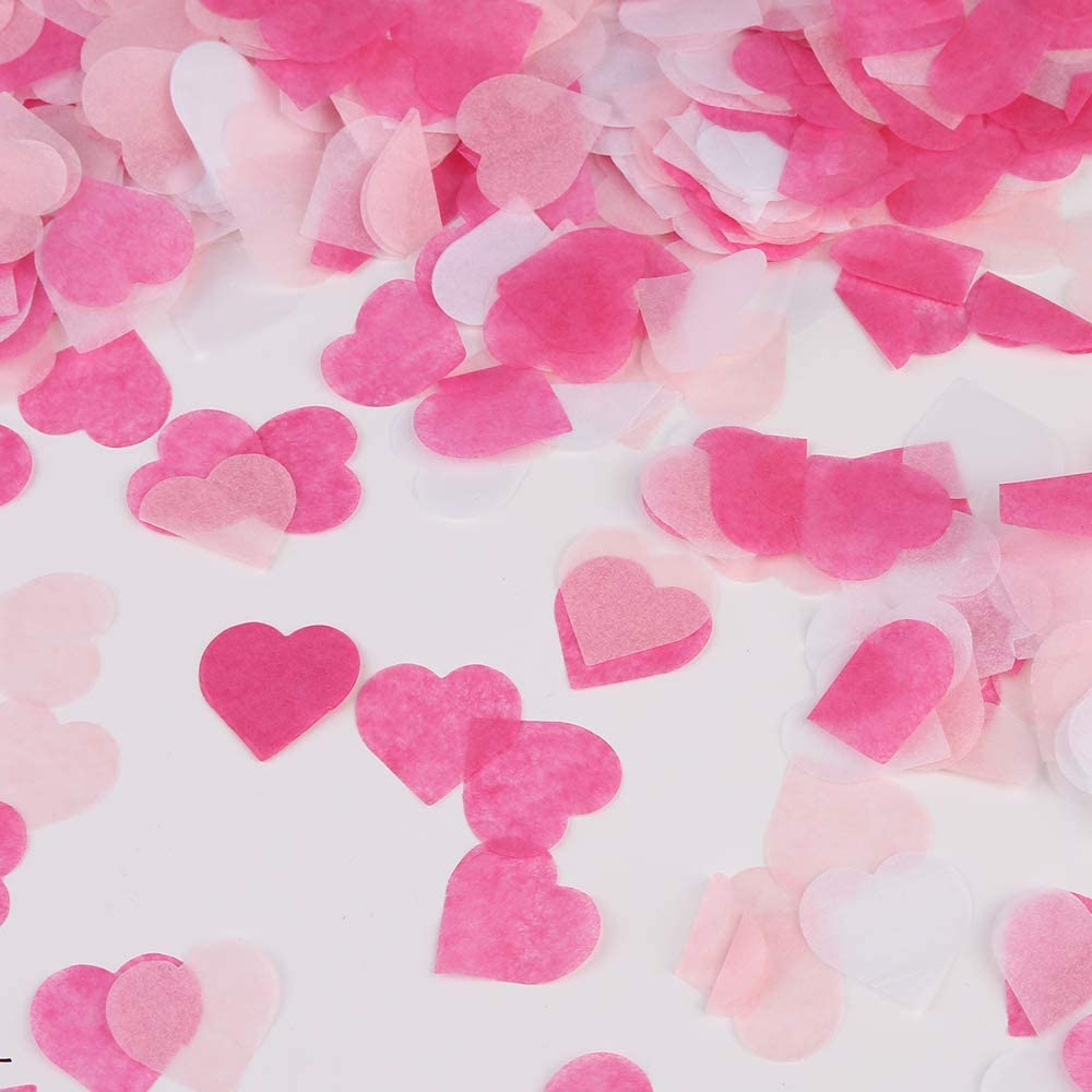 Coeur Papier confettis Tissu Confetti Party Decorations de Table pour la d/écoration de Table de f/ête danniversaire Femme Fille Enfant Vegena 6000 Pi/èces Confettis en Forme de c/œur