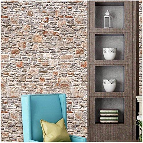 stickers muraux ,Moonuy 40*320cm mur en pierre de brique de papier d'effet rustique 3D Wall Sticker Autocollant mural auto-adhésif amovible Home Decor (F)