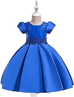 BCSHF Vestido de Princesa de Las niñas Princesa del Vestido niña de Las Flores Vestido Mullido de Tela Cruzada de Raso con...