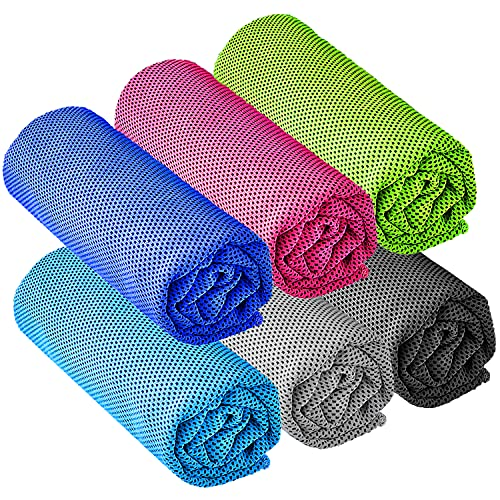 """YQXCC 6 Pcs Cooling Towel (47""""x12"""") Cool Cold Towel for Neck, Microfiber Ice Towel, Soft Breathable Chilly Towel for Yoga, Golf, Gym, Camping, Running, Workout & More Activities"""