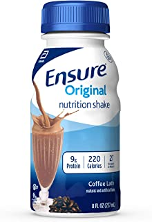 Best Ensure Original Nutrition Shake with 9 grams of protein, Meal Replacement Shakes, Coffee Latte, 8 fl oz, 24 count Review