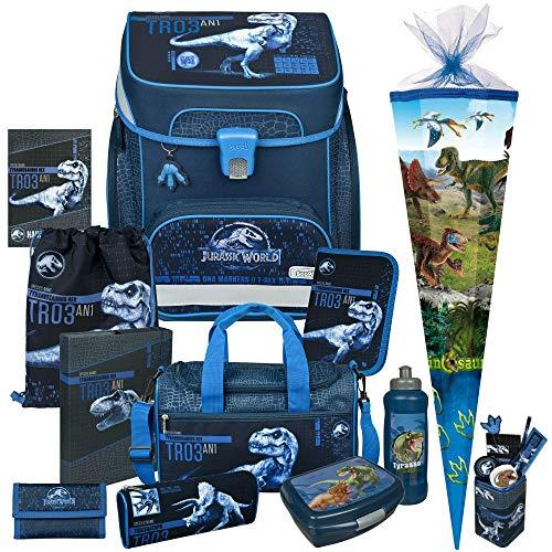 Jurassic World - Dinosaurier - SCOOLI Undercover EasyFit Schulranzen-Set 13tlg. mit Sporttasche, BROTDOSE, TRINKFLASCHE, SCHULTÜTE, STIFTEBECHER, HEFTBOX und HAUSAUFGABENHEFT - GELDBÖRSE GRATIS DAZU