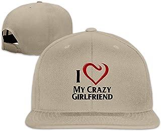 Patrick R Garrett Moda Unisex Divertido I Love My Crazy Girlfriend Sombrero de béisbol Plano para Hombres Mujeres Cap Sombreros Deportivos