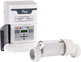 BLUE WORKS Salt Water Pool Chlorine Generator System BLSC Chlorinator| Free Flow Switch | 5 Year Limited Warranty | Cell Plates Made in USA (40,000 Gallon, Clear Cell)