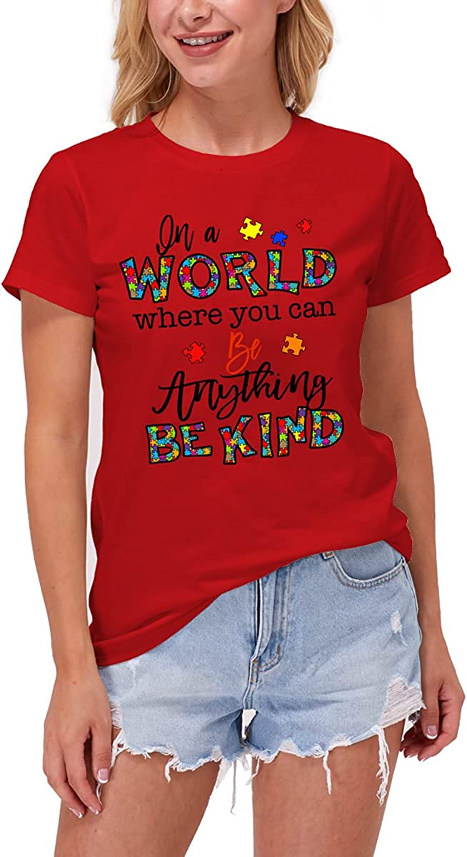 Womens Tops Funny Letter Print Shirts Short Sleeve Casual Tops Anything Be Kind T-Shirt Cute Graphic Tees for Women