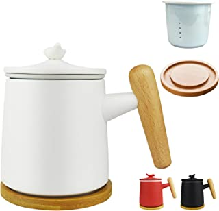 Ocharzy Ceramic Tea Cup with Infuser and Lid Porcelain Tea Mug, Wooden Handle, 350ml/12oz, Tea Cups for Steeping, Tea Love...