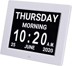 Pipishell Day Clock Premium Digital Alarm Clock with Extra Large LCD Screen ,Electronic Wall Clock & 5 Alarm Options,Perfect for Seniors,White