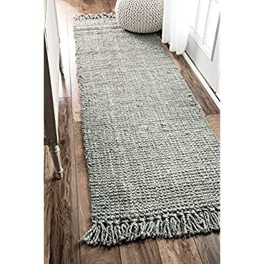nuLOOM Handmade Natural Fibers Chunky Loop Runner Rugs, 2' 6  x 8', Sage