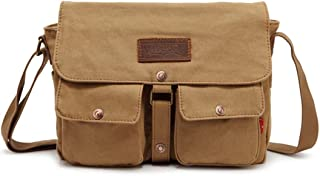 Mens Bag Messenger Bag Color: Brown Simple Retro Zip Canvas Briefcase Shoulder Bag High capacity