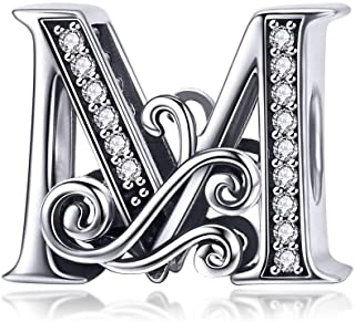 Eternalll Jewellery - Spacer Beads Authentic 925 Sterling Silver Charms Vintage A-Z Letter Alphabet Charms Fit Pandora Bea...