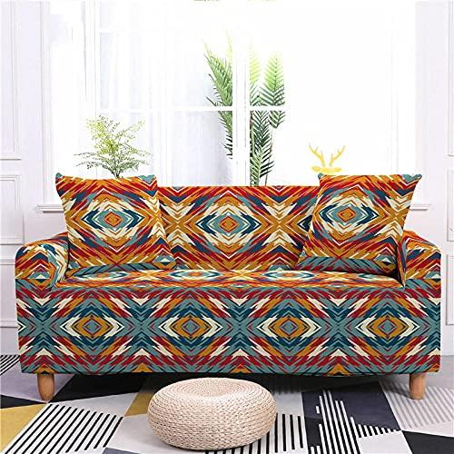 Funda Sofa 4 Plazas Chaise Longue Acuarela Naranja Fundas para Sofa con Diseño Elegante Universal,Cubre Sofa Ajustables,Fundas Sofa Elasticas,Funda de Sofa Chaise Longue,Protector Cubierta para Sofá