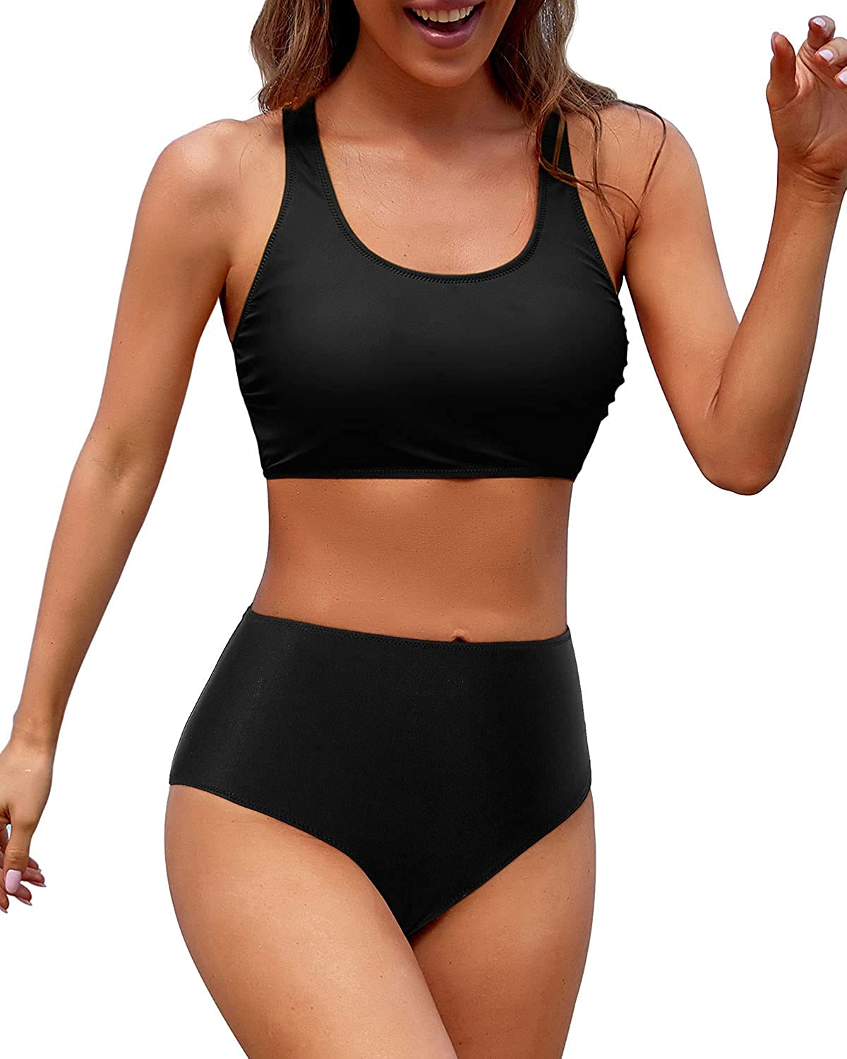 Holipick Sporty Bikini for Women Two Piece High Waisted Bathing Suit Athletic Swimsuit for Teen Girls Juniors