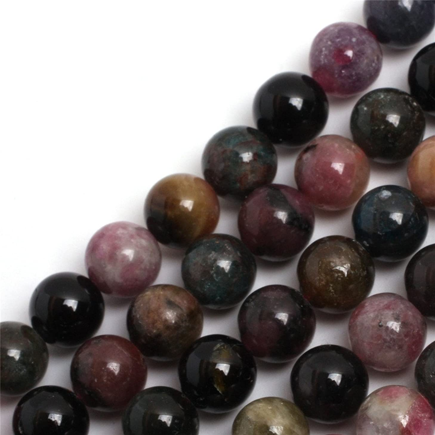 GEM-inside Tourmaline Gemstone Loose Beads Natural Round 10MM Crystal Energy Stone Power For Jewelry Making 15