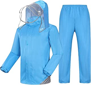 NYDZDM Raincoat Suit Rain Jacket and Rain Pants Set Adults Rainproof Windproof Hooded Rainwear Outdoor Work Motorcycle Golf Fishing Hiking (Color : Blue, Size : XL)
