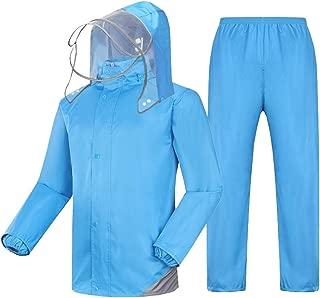 NYDZDM Raincoat Suit Rain Jacket and Rain Pants Set Adults Rainproof Windproof Hooded Rainwear Outdoor Work Motorcycle Golf Fishing Hiking (Color : Blue, Size : XL)
