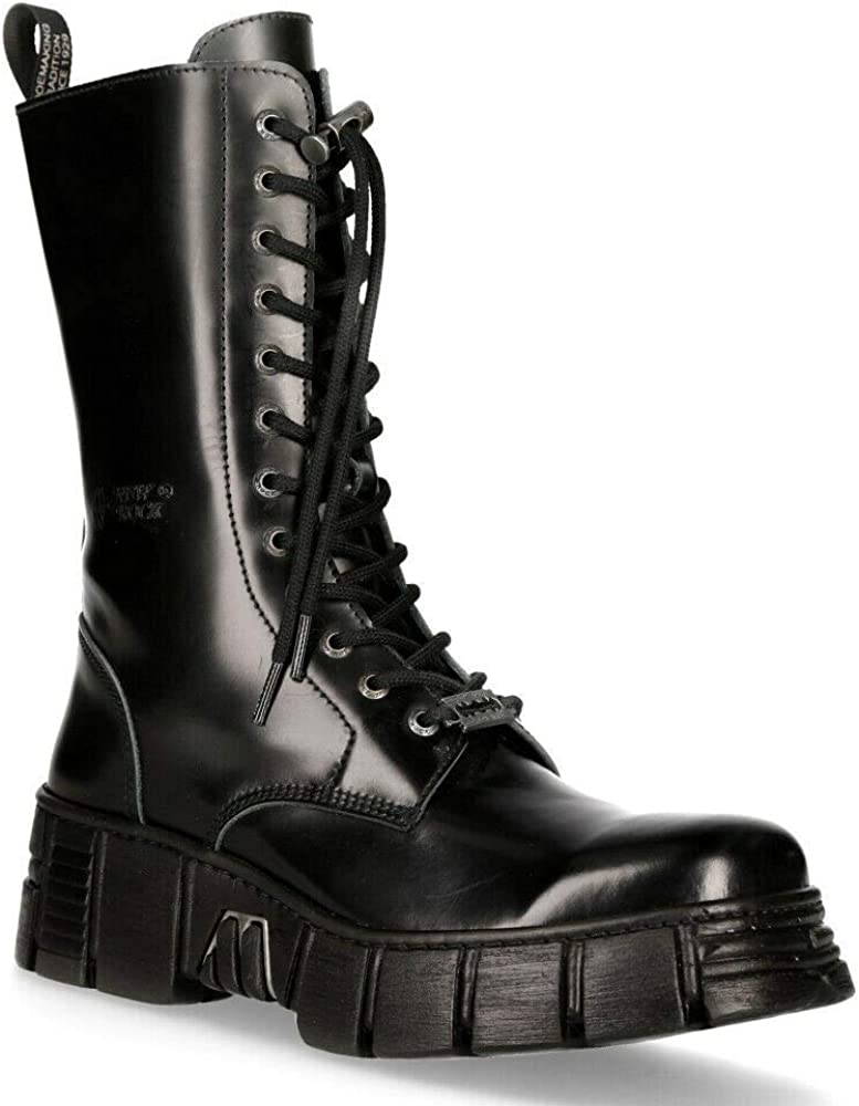 New Rock M-WALL027N-C2 Boots Black Leather Wall Rock Biker Mid-Calf Tower Boots