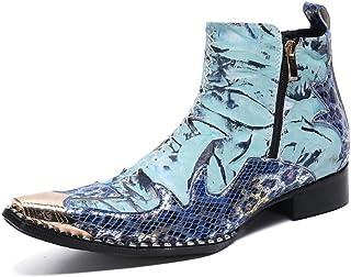 YOWAX Zapatos de Cuero Botas de Cuero con Puntera metálica de Empalme de Moda Masculina para Informal, Fiesta, Zapato Pers...