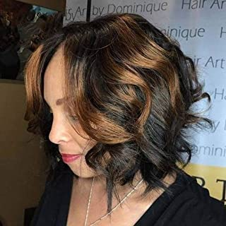 Natural Short Human Hair Wig Bangs Glueless Lace Wigs Brazilian Bob Wave Brown Woman Front (A)