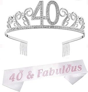 Tiara de 40 cumpleaños con diamantes de imitación, corona con peines plateados, 40 corona para mujer, para regalo de 40 cu...