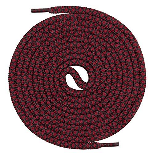 Mount Swiss runde Premium-Schnürsenkel für Arbeitsschuhe Wanderschuhe und Trekkingschuhe - 100% Polyester - extrem reißfest - ø 5 mm - Farbe Weinrot-Schwarz Länge 120cm