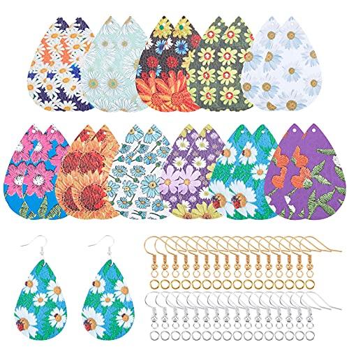 SUPERFINDINGS 11 pares de 11 estilos de lágrima de flores colgantes colgantes para hacer pendientes de cuero colorido pendientes pendientes para hacer manualidades suministros