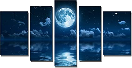 Yin Art 5-Panel Landscape Split Canvas Print Wall Art Set - Blue Seascape at Night with Full Moon Cloudy Starry Sky Over the Ocean Sea Water - Stretched and Framed Home Decor Ready to Hang
