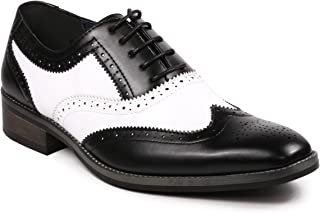 MC118 Men's Two Tone Perforated Wing Tip Lace Up Oxford Dress Shoes