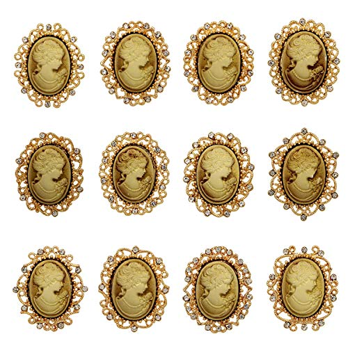 WeimanJewelry Lot 12pcs Crystal Rhinestone Flower Vintage Victorian Cameo Brooch Pin Set for Women (Gold)