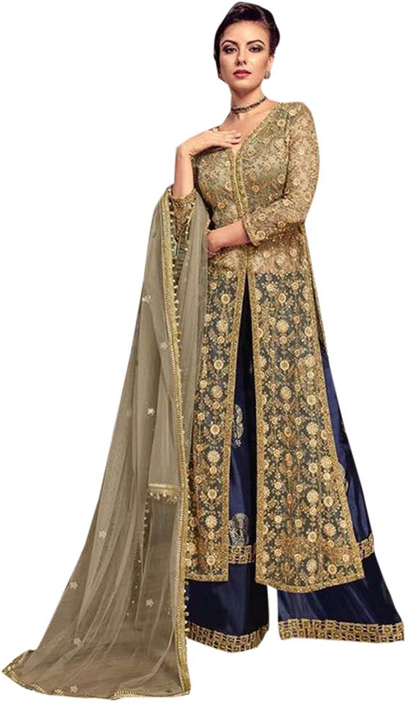 Designer Heavy Salwar Kameez Suit Bridal Dress palazzo Style Indian Ethnic Party Wear 7142