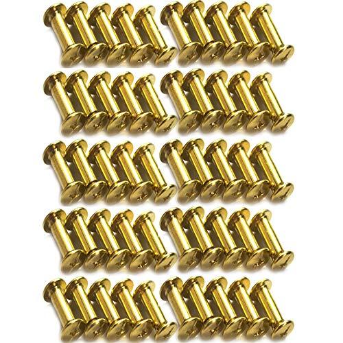 Xinlie 50 PCS Tornillo de Cuero de Encuadernación Tornillo de Chicago Acero Niquelado Remache Cabeza de Cruz Redondo Botones Clavo Perno del boton macizo de arco Clavos de Tornillo M5x15mm (C)