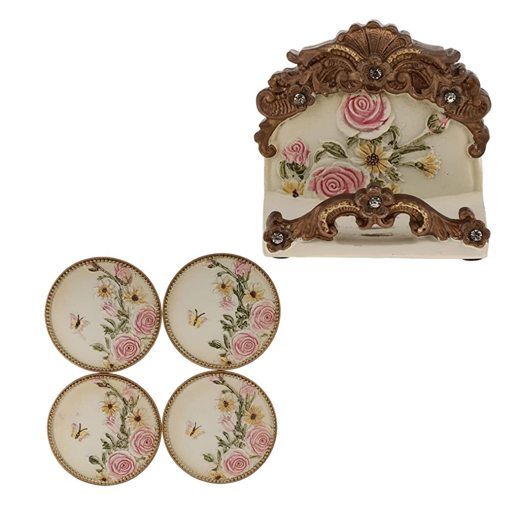 Homyl Retro Rose Flower Style Coasters Set Coffee Tea Cup Mat Coaster with Holders