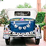 Konsait Just Married Decalcomanie per Auto & Just Married Striscione, Just Married Auto Adesivi Vetro Decalcomania in Vinile con Ghirlanda Bandiera per Decorazioni Nozze (7 × 23IN)