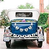 Konsai Just Married Pegatinas de Vinilo para Coche Car Window Decal & Just Married Banner con Bandera Guirnalda para Boda Coche decoración Luna de Miel Regalo