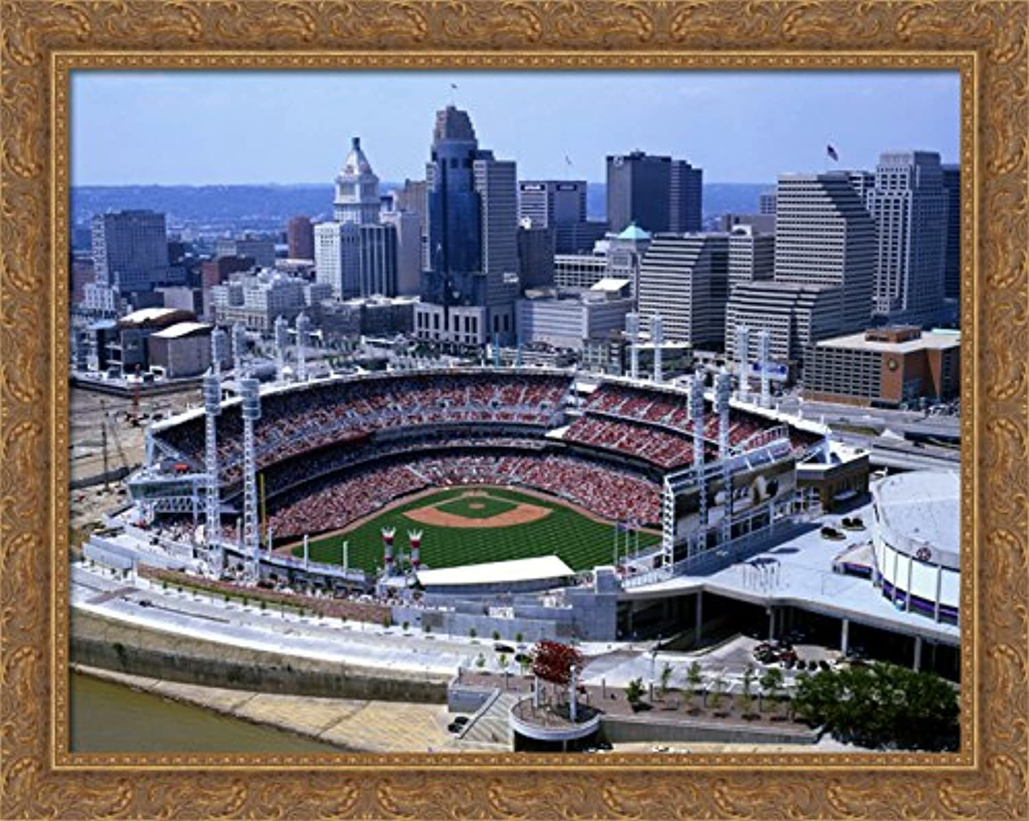 Great American Ballpark 34x28 Large gold Ornate Wood Framed Canvas ArtHome of the Cincinnati Reds