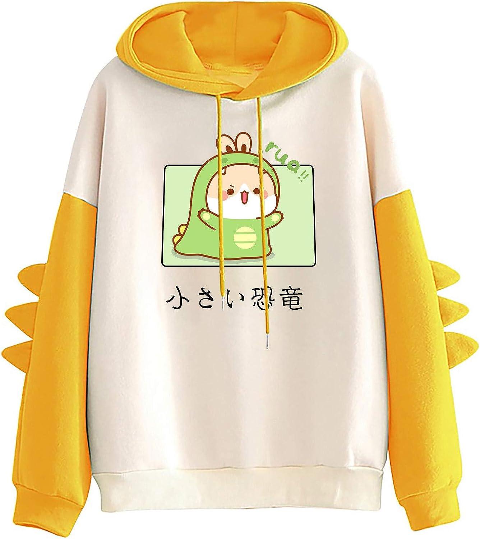 AODONG Sweaters for Women Dinosaur Hoooded Pullover Cute Long Sleeves Splice Tops Cartoon Printed Hoodies Sweatshirt