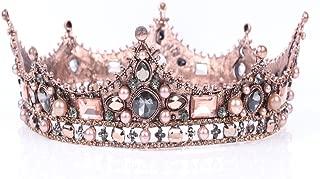 Leiothrix Bride Wedding Flower Crowns and Tiaras Baroque Bridal Queen Hair Accessories Gold for Women Bridemaids