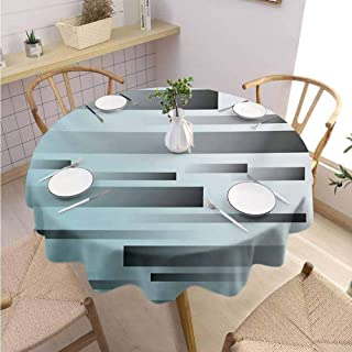 DILITECK Striped Kids Round Tablecloth Abstract Symbolist Lines Featured in Modern Multi-Faceted Lines Sci Fi Artwork Table Decoration Diameter 36″ Sky Blue Grey