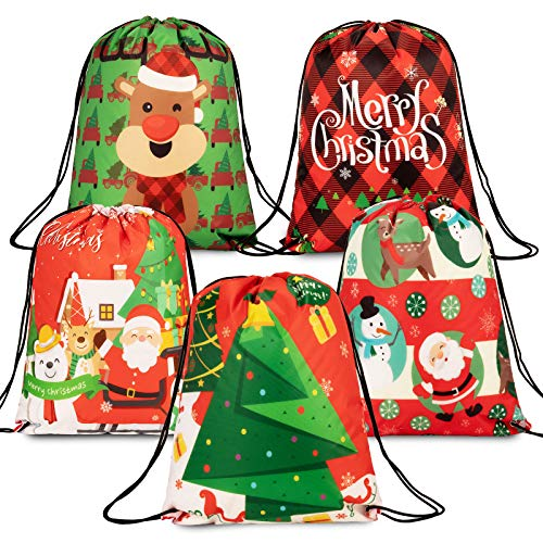Whaline Christmas Drawstring Gift Bags Large Xmas Tree Reindeer Santa Backpack 5 Pack Reusable Treat Goody Wrapping Bags for Birthday Christmas Party Favors, 12.8' x 16.3'